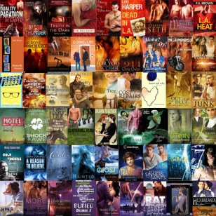 A rainbow square of book covers